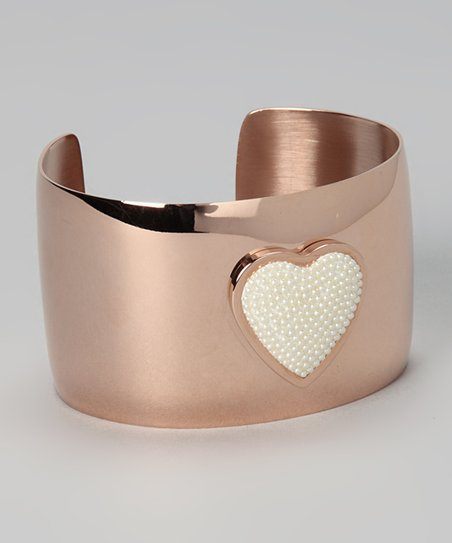 Rose Gold &amp; Simulated Pearl Heart Cuff