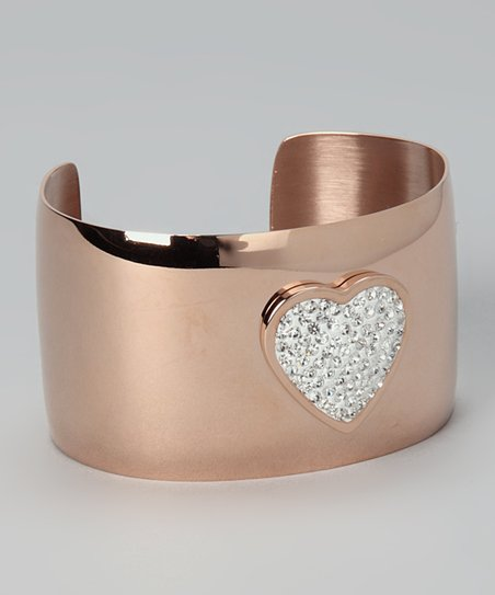 Rose Gold & Simulated Diamond Heart Cuff
