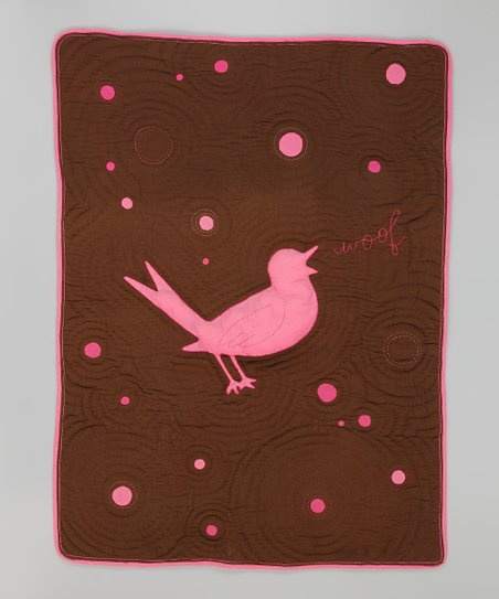 Pink & Brown Bird Toddler Blanket