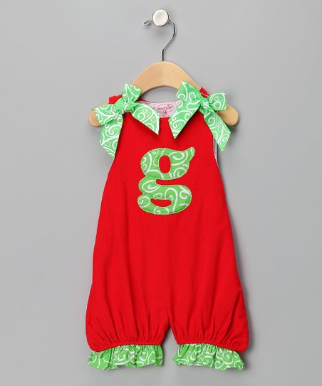 Red 'G' Corduroy Romper - Kids
