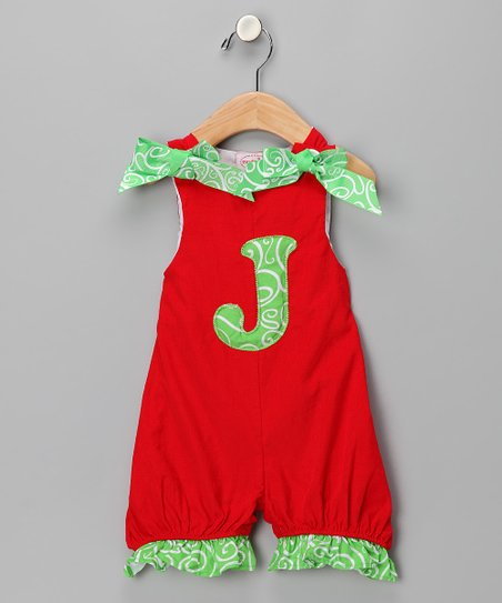 Red 'J' Corduroy Romper - Kids