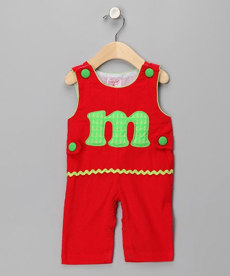 Red 'M' Corduroy Overalls - Kids