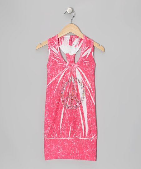 Pink Marble-Dye Racerback Dress - Girls