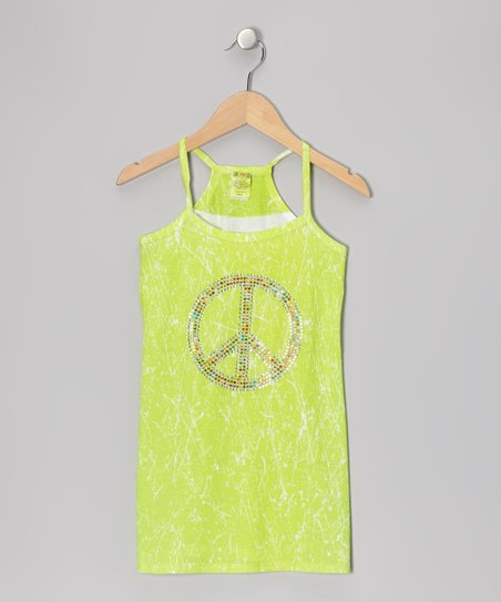Lime Marble-Dye Dress - Girls