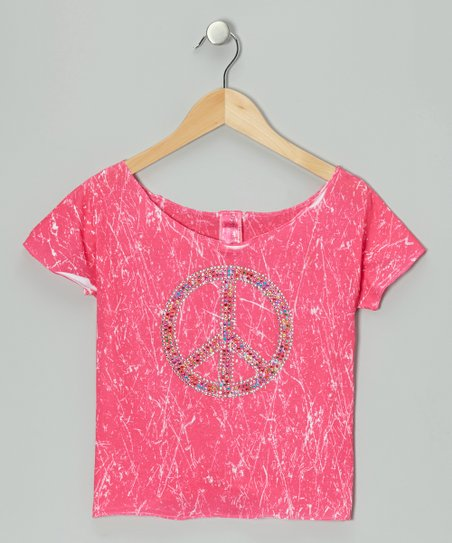 Pink Marble-Dye Crop Top - Girls