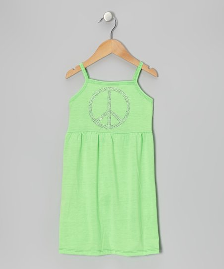 Neon Lime Peace Sign Dress - Toddler & Girls