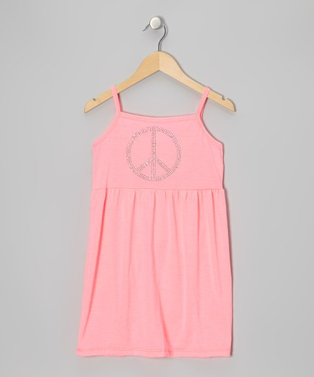 Neon Pink Peace Sign Dress - Toddler & Girls