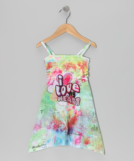 Yellow 'I Love You' Sublimation Dress - Girls