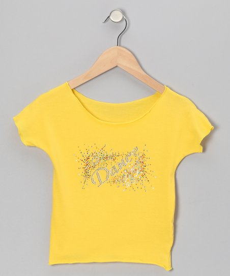 Yellow 'Dance' Explosion Crop Top - Girls