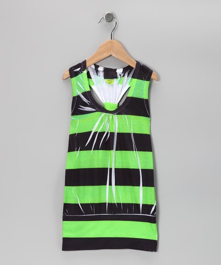Lime Stripe Racerback Dress - Girls