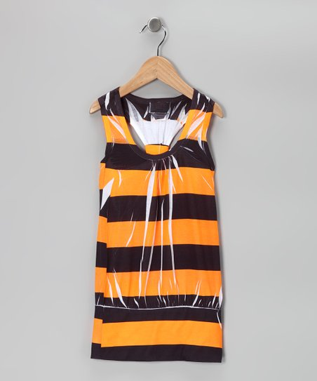 Orange Stripe Racerback Dress - Girls
