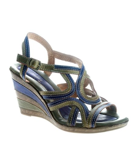 Blue Leather Ansonia Wedge