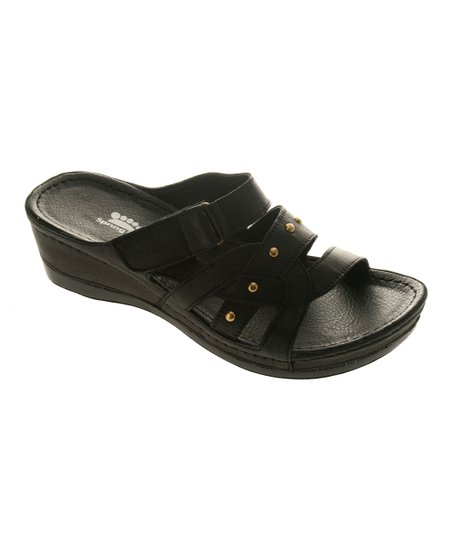 Black Leather Enlighten Slide