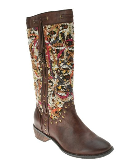 Brown Leather Tapestry Boot