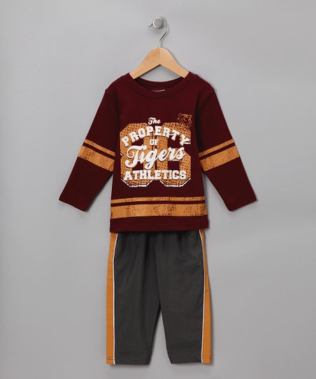 Maroon 'Tigers Athletics' Tee & Track Pants - Infant & Toddler