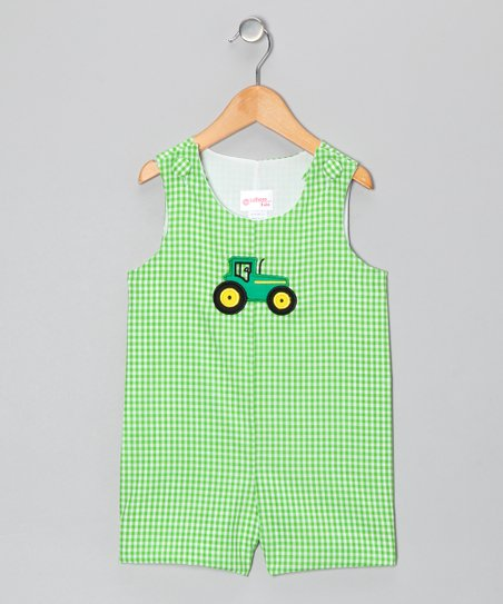Green Gingham Tractor Shortalls - Infant & Toddler