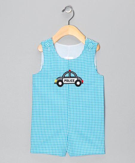 Aqua Gingham Police Shortalls - Infant & Toddler