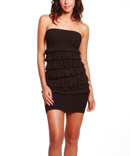 Black Ruffle Strapless Dress - Women
