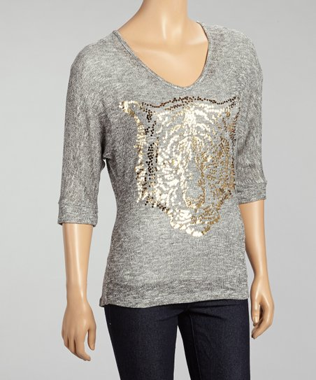 Gray & Gold Sequin Tiger Sweater