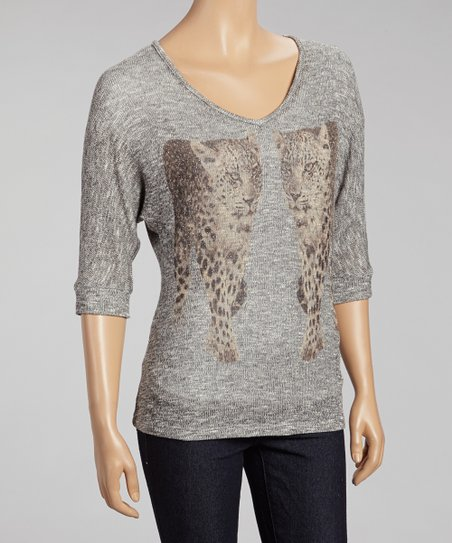 Gray Cheetah Sweater