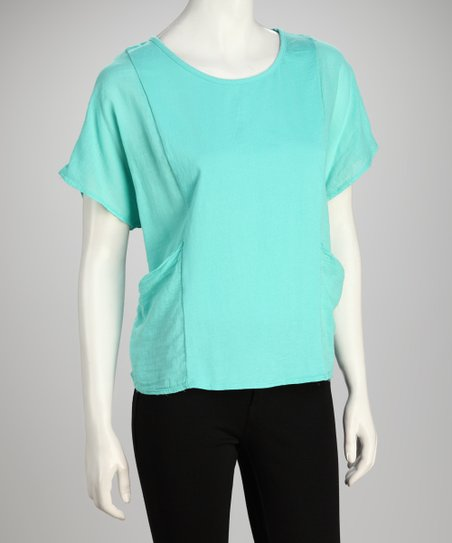 COIN 1804 Aqua Cape-Sleeve Top