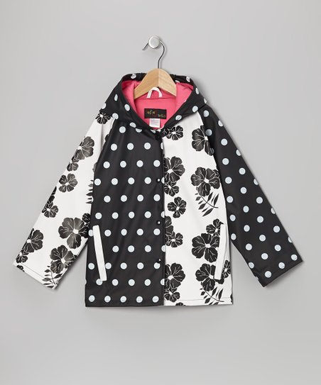 Black & White Polka Dot Raincoat - Infant, Toddler & Kids