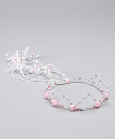Bubblegum Diva Pink & White Beaded Princess Crown
