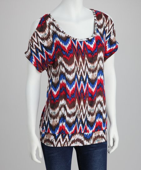 Blue & Red Wavy Stripe Top