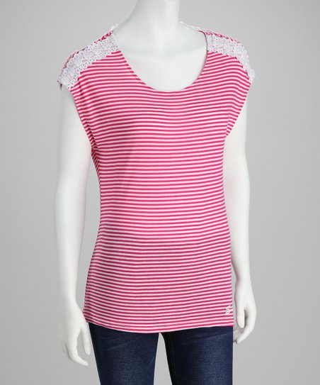 Electric Pink Cap-Sleeve Top