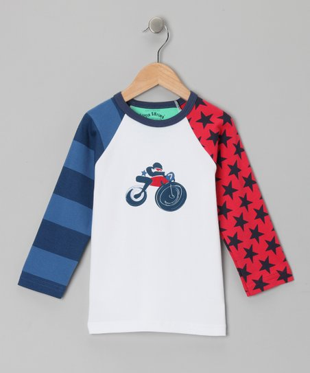 Azure & White Motorbike Ned Raglan Tee - Toddler & Boys