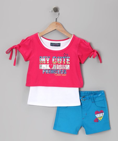 Fuchsia & Blue 'My Cute' Top & Shorts - Infant & Girls