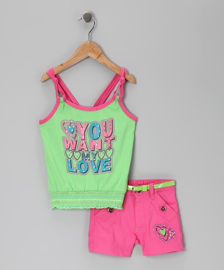 Green & Fuchsia 'My Love' Tank & Shorts - Infant, Toddler & Girls