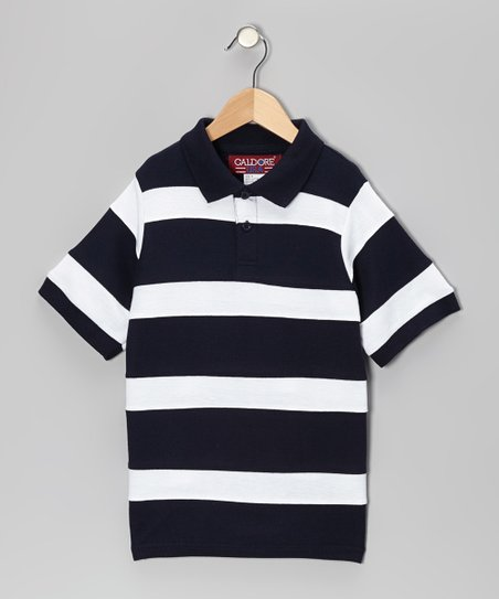 Black & White Stripe Piqué Polo