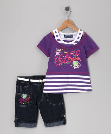Purple 'Peace' Tee & Denim Shorts - Girls
