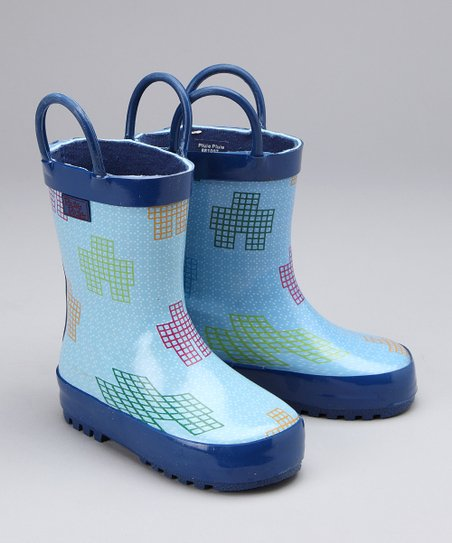 Blue Robot Rain Boot