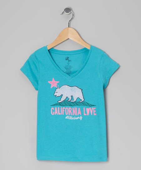 Tiki Turquoise Born in Cali V-Neck Tee