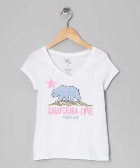 White Born in Cali V-Neck Tee