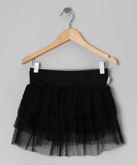 Black Crinalina Tiered Skort