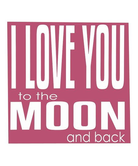 Deep Pink & White 'Love You to the Moon' Wall Art