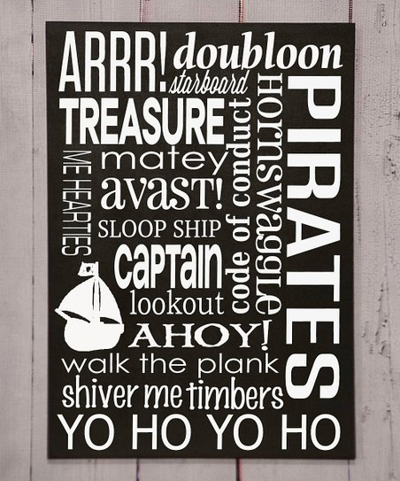 Black & White Pirate Subway Wall Plaque