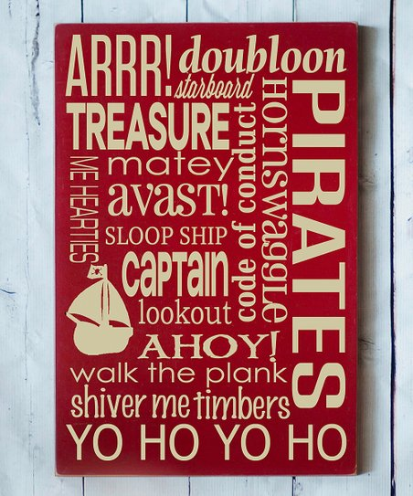 Red & Cream Pirate Subway Wall Plaque