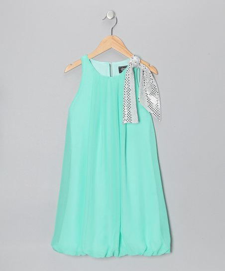 Mint Sequin Bow Bubble Dress - Girls