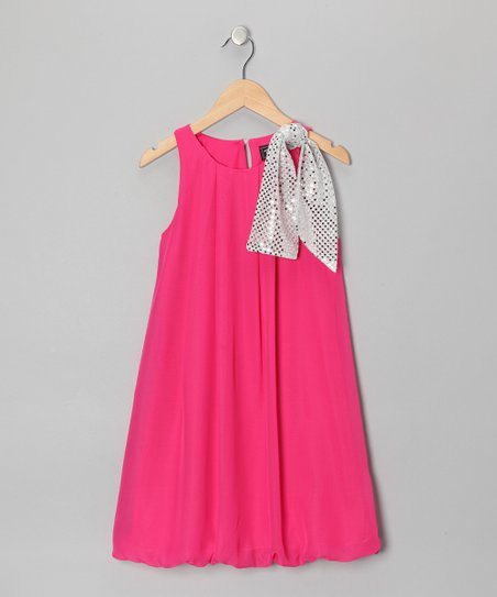 Pink Sequin Bow Bubble Dress - Girls