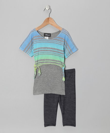 Purple & Yellow Layered Stripe Top & Jeggings - Toddler & Girls