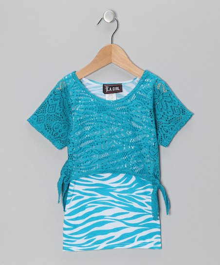 Turquoise Zebra Layered Top - Toddler