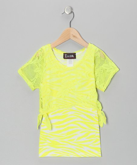 Yellow Zebra Layered Top - Toddler