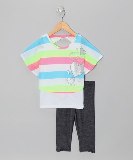 Neon Green & Pink Heart Layered Top & Jeggings - Toddler & Girls