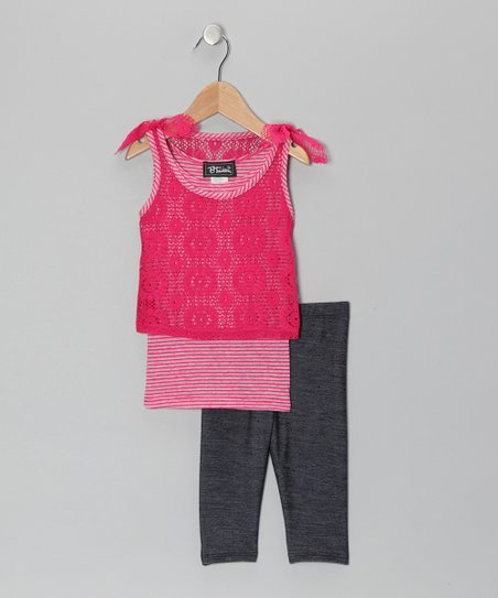 Fuchsia Layered Lace Tank &amp; Jeggings - Toddler &amp; Girls