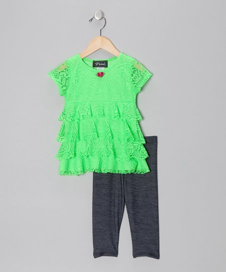 Neon Green Tiered Ruffle Lace Tunic & Jeggings - Toddler