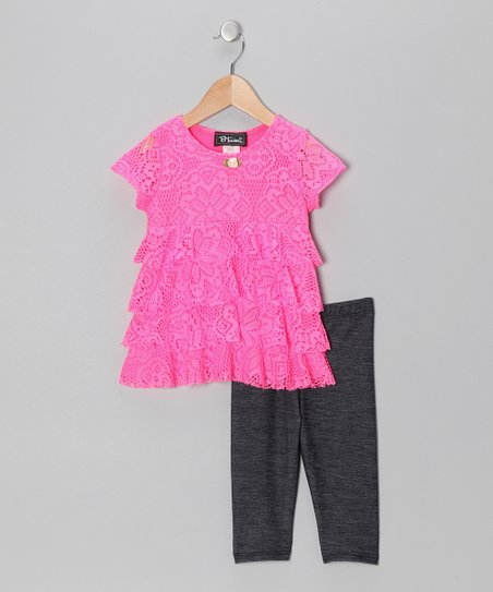 Neon Pink Tiered Ruffle Lace Tunic & Jeggings - Toddler